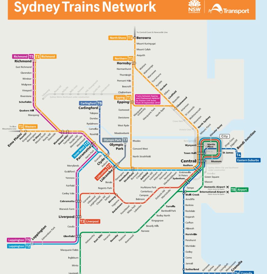 シドニートレインマップ